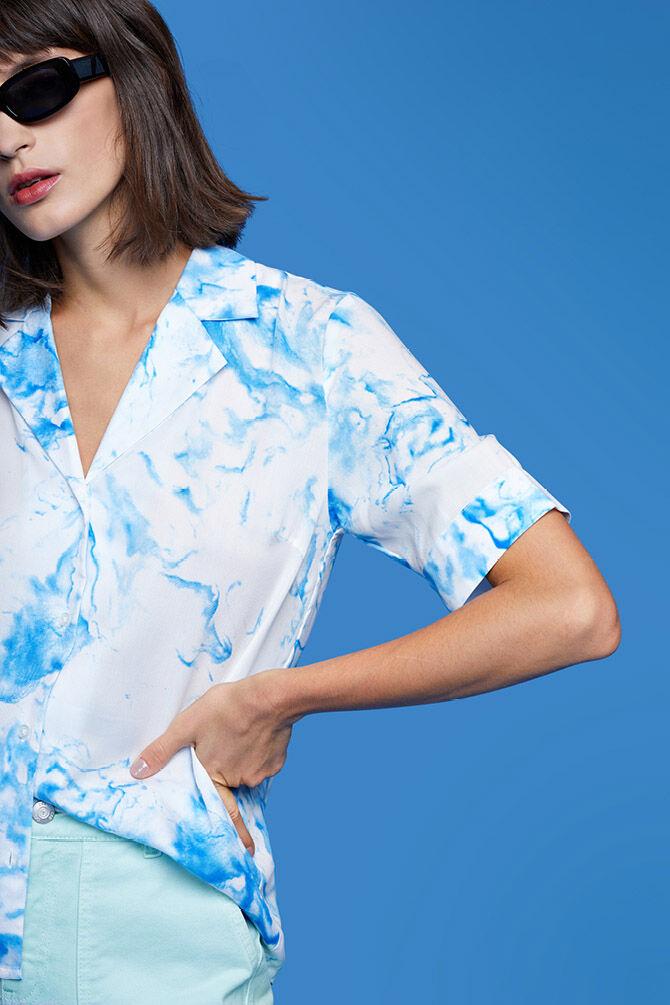 CKS WOMEN - LIAM - Bluse kurze Ärmel - Blau